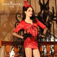 Wholesale 2014 new female bag mail lovely pure female red spider web yarn splicing bind mysterious witch suit outfit sexy lingerie temptation