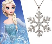 Wholesale 2014 new hot silver necklace jewelry inlaid crystal snowflake pendant necklace frozen long necklace