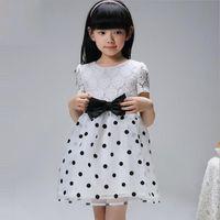 princess - Summer New Arrival Childrens Clothing Baby Girls Fashion Short Sleeve Dot Pattern Dresses Girls Kids Pretty Lace Princess Dresses