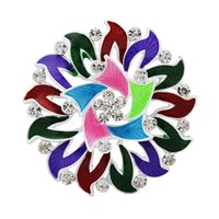 acrylic model paint - Europe and large flower brooch rhinestone brooch alloy drip painting hot explosion models