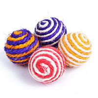 Wholesale 2pcs Funny Cat Kitten Sisal Rope Weave Ball Teaser Chewing Rattle Catch Toy G01244