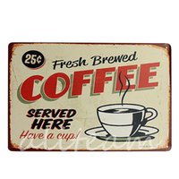 Wholesale 2014 New Stylish Coffee Metal Home Shop Pub Wall Garage Shabby Vintage Sign Tin Plaque Decor Painting x300mm
