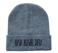 Wholesale We sell kinds of cheap bad hair day Beanies hats Most popular Men s brand deisigner winter knitted caps silver