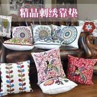 Wholesale Folk style cotton handmade embroidery embroidered pillowcase with cushion sofa waist pillow