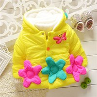 baby ducky - Big flower and bee girls winter warm jacket kids girls outwear baby girls lovely animal ducky coats sweaters KT539R