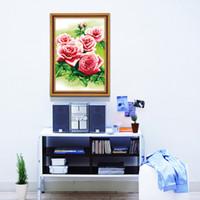 la impresión al por mayor de 3D-puntada precisa sustancial nueva sala de estar humor para el amor - rosa Rosa Cruz puntada serie de las flores