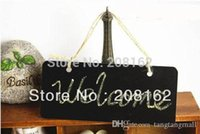 Wholesale Wooden Hanging Mini Small Blackboard Leave A Message WordPad Room Doorplate Chalkboard With Rope mini order usd A5