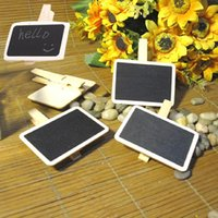Wholesale Hot Sale Wooden Mini Square Small Blackboard Clip Holder Dispenser Message Board Drop Shipping HG