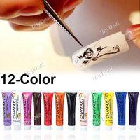 Cheap holesale new Acrylic UV Gel Design 3D Paint Tube Nail Art Pen 12 Colors Nail Polish False tips Drawing 12pcs lot Free Shipping A5