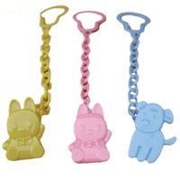 Wholesale Cute Cartoon Design Kids Baby Pacifier Clips Color PP Plastic Infant Girls Boys Security Chain Pacifier Holder free ship