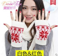 Wholesale Korean version of the new cute candy colored half finger gloves female double thick warm wool winter snow