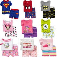 Cheap summer set short sleeve and short kids short pajama set baby superman pajamas batman sleepwear kids short clothes set boys girls kids short
