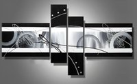Wholesale Modern decoration handmade oil painting canvas Black White Grey home office wall art decor CX227