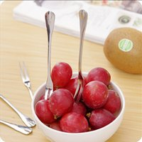 Wholesale 5 eco protection stainless steel fruit fork cake dessert fokr kitchen accessories spork fruit tool