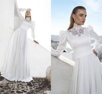 african flooring - Julie Vino Arabic Lace A Line Chiffon Wedding Dresses Muslim Two Piece High Collar Long Sleeves Bridal Gowns African Traditional BA0493