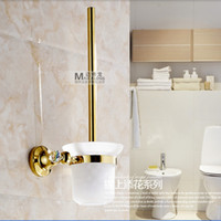 Wholesale And Retail Golden Brass Wall Mounted Bathroom Toilet Brushed Holder Crystal Style Brush Cup Holder
