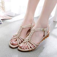 Wholesale 2016 Hot Sale New Sandals Women Cow Genuine Sandals Women Flat Heel Summer Shoes Sexy Muscle Sole Wedge cm