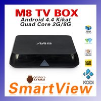 Wholesale M8 TV Box Amlogic S802 Quad Core Android Kitkat G G Dual Wifi GB ROM GB ROM Bluetooth KODI ADD ONS Pre installed A0072
