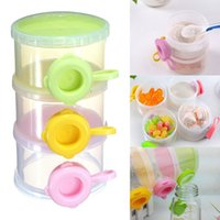 Wholesale Layer Baby Infant Food Milk Feeding Powder Dispenser Container Travel Storage Box organizer side opener holder
