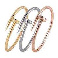 Wholesale 2015 Fashion brand L titanium steel CZ stones Nail bangle bracelet punk crystal rhinestone clasp Silver Rose Gold love nail cuff bangle