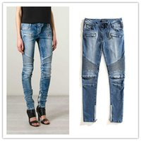 acrylic polyester paint - BALMAIN WOMEN STRETCH BIKER SKINNY JEANS DENIM BLUE WASHED Brand New Sz