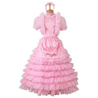 Wholesale New Arrival Custom Made Pansy Sissy Satin Long Prom Puffy Dress Cosplay Costume For Halloween Party