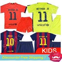 football set - kids Barca Jerseys Barcelona NEYMAR JR Children Soccer Jersey SUAREZ Messi Camisa Barca Children football Uniform Set