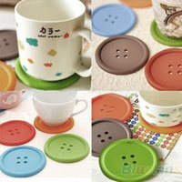 Wholesale 5Pcs Cute Colorful Silicone Button Coaster Cup Cushion Holder Drink Placemat Mat Home Q