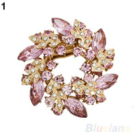 Wholesale 1 Pc Fashion Women Ladies Rhinestone Crystal Alloy Flower Bouquet Brooch Pin Colors B6