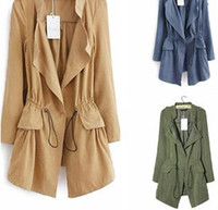 Wholesale 2014 New Fashion Autumn and Winter Women Trench High Quality Full Sleeve Temperament Thin Women Trench Coat NM387