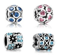 Wholesale HOT Silver beads charms with Stones European charm Bracelets for pandora Compatible Mix style