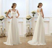 2016 Summer Beach Chiffon A Linha Backless vestidos de casamento cintura império rústico Boho do casamento do laço Correias Plus Size maternidade vestido de noiva