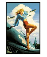 airplane art prints - 2015 Hot Sale Greg Hildebrandt USA Pin Up on Airplane Poster Prints high quality picture nice movie style custom poster x75cm