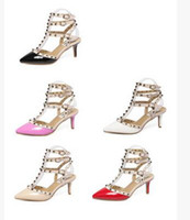 Wholesale women high heels dress shoes party fashion rivets girls sexy pointed toe shoes buckle platform pumps wedding shoes Red black white pink