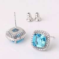 aquamarine stud earrings white gold - arrings Stud Earrings MOLIAM Fashion Ladies Aquamarine Design Stud Earring k White Gold Plating Wedding Jewelry Earrings High Quality E