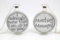 Wholesale 10pcs Harry Potter Mischief Managed Necklaces glass cabochon necklace