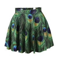 Wholesale Sexy Fashion Shiny Milk Women Clothing New Green Peacock Skirt Digital Print Skirts