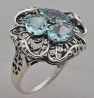 aquamarine flower ring - delicate hollow out Europe and the United States retro sterling silver flowers aquamarine ring The Victorian era
