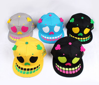 balls human - Human skeleton hat men s and women s hip hop hat dance flat skull tide hat cap baseball caps spring summer hot