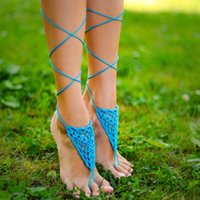 cyber monday - CYBER MONDAY SALE Aqua Barefoot sandal Turquoise barefoot sandals Foot jewelry Crochet feet accessory Foot attract everyone s attention
