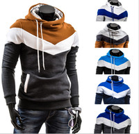 Wholesale 2015 New Fashion Thick Warm Men s Clothing Elegant Hoodies Sweatshirts Patchwork Colors with Pockets Cool Men s Coat ecc2935