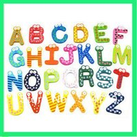 Wholesale 78pcs Colorful Funny Cartoon English Letters Wood Fridge Magnet Refrigerator Sticker Children Early Learning Education Toy