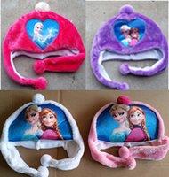 Wholesale Colorful Frozen Plush Hats Children s Newest Favorite Princess Elsa Anna Olaf Snowman Printed Winter Warm Hat Gloves MOQ Free Ship
