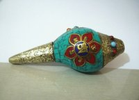 Wholesale TIBET SILVER PLATED INLAY TURQUOISE CORAL HAND OLD CONCH EXORCISM STATUE