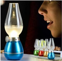 Wholesale LED Retro Lamp Lamps Novelty Lighting USB Rechargeable Blowing Kerosene Adjustable Blow On Off Night Light Home Decroration JIA478