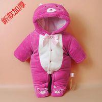 baby garment bags - Newborn baby romper suit winter thickening the coral fleece bag feet ha garments