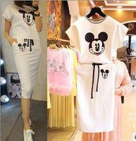 pies - 2015 New Set For Big Gir Summer Set For Big Gir Mickey T shirt printing package hip skirt two pie Casual Fashion Set For Big Gir Set BA5B2