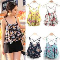 Wholesale Summer Women Colorful Strap Cami Floral Flowery Cute Chiffon Ruffled Frill Layered Backless Club Party Crop Top Casual Blouse