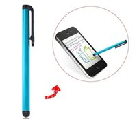 Wholesale Colorful Screen Touch Pen Stylus For iPhone Samsung iPad With Earphone Anti Dust Plug