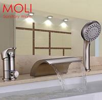 bath tub brush - Bath tub faucet brushed nickel hole bath mixer bath waterfall faucet widespread brass with hand shower